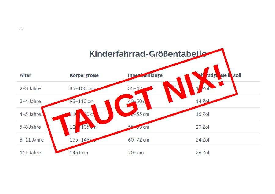 Wieviel Zoll? - Warum Kinderfahrrad-Größentabellen nicht helfen