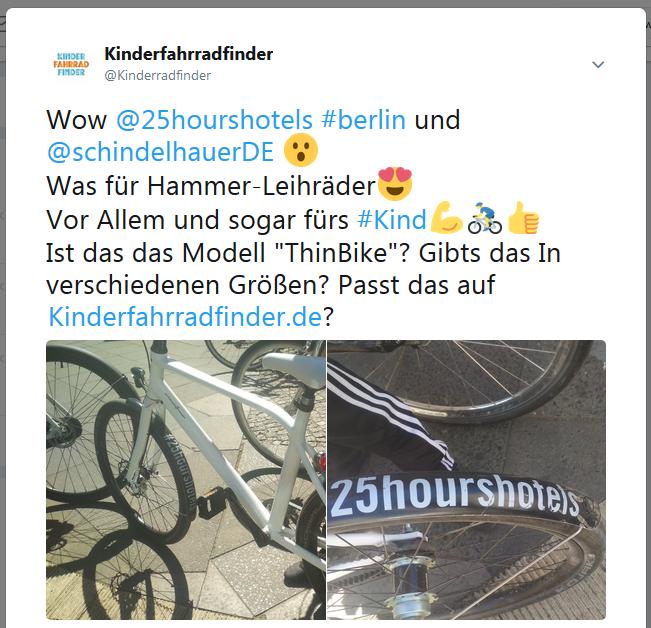 Erster Kontakt mit Schindelhauer-Bikes von 25hours Hotels