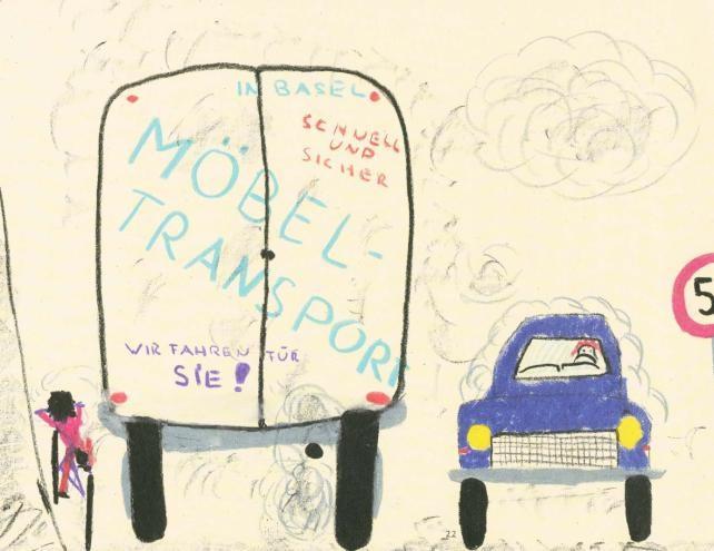 Schulweg - gemalt von Schüler, der mit dem Auto zur Schule gebracht wird