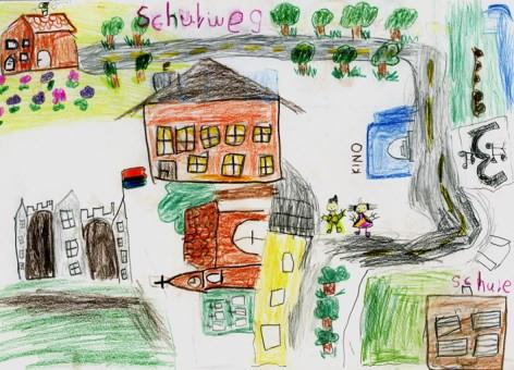 Schulweg - gemalt von Schüler, der zu Fuß zur Schule geht